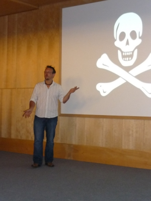 Ed giving a talk on pirate flags